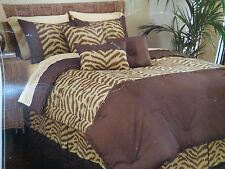 NEW WAVERLY COUTURE KINGDOM ANIMAL TIGER PRINT 7 PIECE KING COMFORTER SET