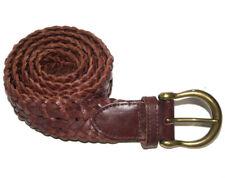 Cherokee Womens Medium Belt Brown Braided Genuine Split Cowhide 32