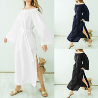 Summer Women Beach Maxi Dress Long Cover Up Frill Off Shoulder Holiday Plus Size