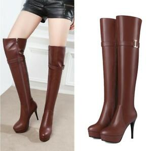 Sz 34-45 Women Ladies 11cm Stiletto Heel Platform Over Knee High Clubwear Boots