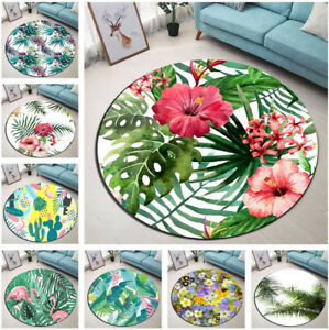 Tropical Palm Leaves Flowers Cactus Round Floor Mat Living Room Area Rugs Carpet