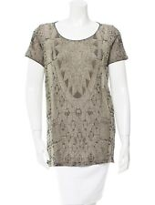 CHANEL metallic TUNIC TOP blouse CC logo charm on neck FR 42 US M 8 10