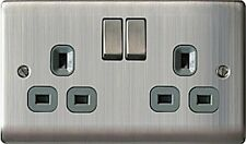 Nbs22g 13 a 2gang Metal Brushed Steel Double Pole Switched Socket Grey Insert