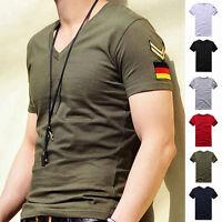 New Men's Armband V Neck Short Sleeve T-Shirt Slim Fit Casual Basic Tee Shirts