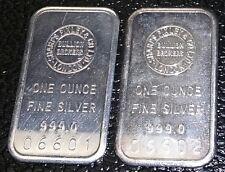 ViNtAgE Lot 2 SEQUENTIAL 1 Oz.999 Fine SHARPS PIXLEY & CO LONDON Silver Art Bars