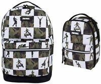 Licensed FORTNITE Green Camoflauge Multiplier Backpack Laptop Bag Lunch SET