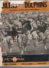 DECEMBER 3 1967 AFL FOOTBALL PROGRAM HOUSTON OILERS VS MIAMI DOLPHINS-PICTORIAL