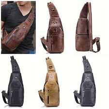 Vintage Wallet Chest Backpack Messenger Shoulder Bag Men Genuine Leather Cowhide