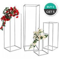 4Pcs Wedding Flower Stand Metal Vase Stand Floor Metal Column Silver Floral Rack