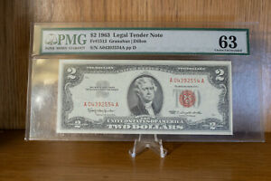 Graded PMG 1963 $2 FR1513 AA Block Red Seal 63 Choice Uncirculated