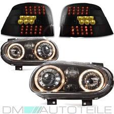 VW Golf 4 Scheinwerfer Angel Eyes Schwarz +LED Rückleuchten Golf 4 Schwarz