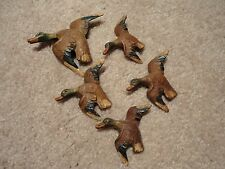 Lot of 5 Vintage FLYING MALLARD DUCK Drake Unknown Maker MARKED A 1941 Painted