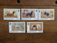 JERSEY 1988 DOGS SET 5 MINT STAMPS