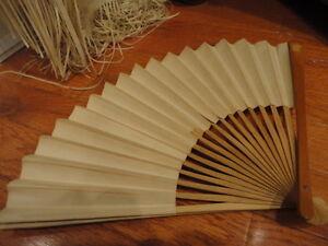 Paper Fan Folding White Plain 10-1/4 in Vintage