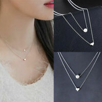 Simple Double layers chain Heart Pearl Pendant Necklace Choker Women Jewelry