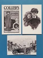 Set of 3 Vintage Motoring Art Postcards by Cavalier Postcards