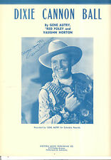 "Gene Autry Sheet Music ""Dixie Cannon Ball"" Gene Autry 1946"