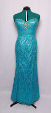 KARISHMA TURQUOISE SEQUINS JEWELED CORSET LACE PROM FORMAL GOWN DRESS 18