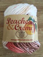 Peaches & Creme Cotton Yarn 1 Skein Sandstone Stripes Lot 141352 Color 14019 2oz