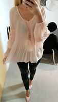 RIVER ISLAND BNWT NEW TOP BLOUSE DUSTY PINK PLEATED CHIFFON SIZE 6 8