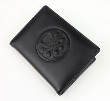 Metal Skull Hydra Badge Leather Card ID Holder Case-1421