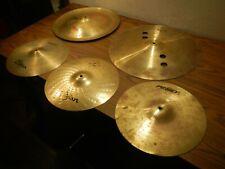 Cymbal lot of 5 Zildjian , atomic, peavey, for drum set