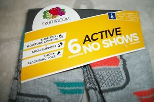 6 pairs Fruit of the Loom Active NO SHOW SOCKS Gray Shoe Size 3 - 9
