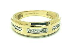Wedding Band 10k Yellow Gold Ring Diamond Accent Unisex Size 9 Keepsake With Box