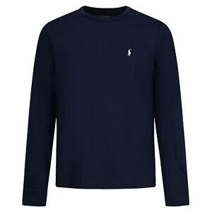 Polo Ralph Lauren - T-shirt blu con logo ricamato sul petto manica lunga per uom