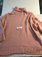 Aerie Womens Oversized Super Soft Pink Tunic Turtleneck Sweater Size XXL.NWOT