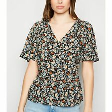 New Look Black Floral Button Up Peplum Shirt