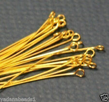 250 pcs of Gold Plated Brass Eyepin  2 inch  22G