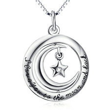925 Sterling Silver Crescent Moon Stars Necklace I love you to the moon and back