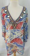 Solitaire Womens Long Top Blouse Tunic Style Multi Colors Beading Polyester Larg