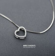 """Sterling Silver Cubic Open Heart Pendant Necklace 16-18"""" Mother Women Gift S2"""