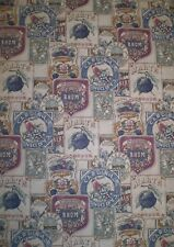 Vintage Dark Blue, Cranberry, Yellow & Tan Food Product Label Wallpaper 549017