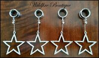 Pair Silver Chic Crystal Star Dangle Stainless Steel Ear Tunnels Plugs 6-25mm