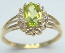 SYJEWELRYEMPIRE FABULOUS 10KT YELLOW GOLD PERIDOT & DIAMOND RING SIZE7 R972