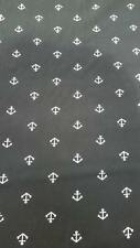 3 yards black and white anchor pattern viscose material fabric