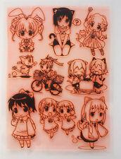 "Clear Stamps Sheet 7""x10"" ~ Anime Chibi Manga Kawaii FLONZ Vintage Rubber403-113"