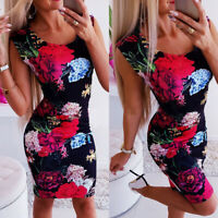 Women's Floral Sleeveless Bodycon Mini Dress Summer Casual Party Pencil Dresses