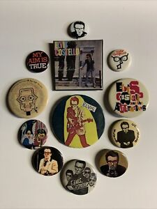 Vintage Elvis Costello 1980s Pin / Button / Badge Collection