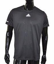 Adidas Running Tee ClimaLite Mens SS Shirt Large L Black Short Sleeve Free Ship
