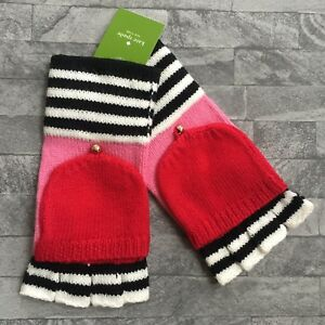 KATE SPADE STRIPED FINGERLESS GLOVES (MATCHING SCARF & HAT AVAILABLE) BNWT