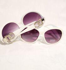 2e3a323093ca Women s Designer White Rhinestone Montana West and D C Round Sunglasses