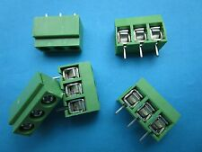 120 pcs Green 5.0mm 3 pin Screw Terminal Block Connector Wire Protector DC126V