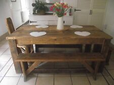 4FT HANDCRAFTED BRITSH MADE SHABBY RUSTIC WOODEN TABLE WITH 2 X STANDARD BENCHES