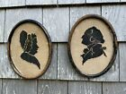 Pair of Antique Wood Framed Silhouettes of George and Martha Washington