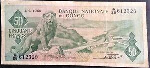 CONGO 50 Francs 1962 P 5 Democratic Republic ZAIRE Belgian Belgium