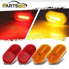 2 Red + 2 Amber 6 LED Rectangle Clearance 12V Side Marker Lights Trailer Camper
